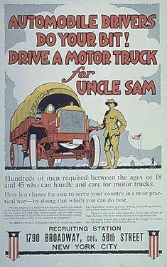 "WW1 poster recruiting ""motor truck"" drivers"