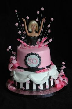 Cute barbie cake for 50th birthday celebration.  Wish I would have thought of this for Mom.  :-)