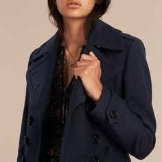 Wool Cashmere Blend Military Pea Coat | Burberry