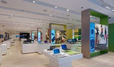Sony's new retail store design the Sony Leap encourages customer interaction with user friendly fixtures.
