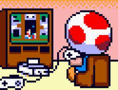 Toad playing the Super Nintendo. Specifically the game called Wario Woods where he was the main character :D Super Mario Brothers, Super Mario Bros, Super Nintendo, Nintendo Ds, Nintendo Games, Retro Video Games, Video Game Art, Pixel Art, Geeks