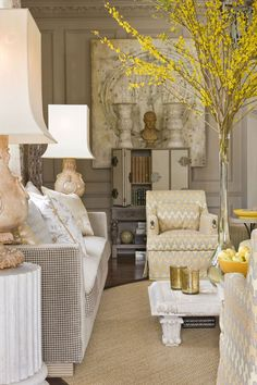 Washington DC #Design House by Barry Dixon #gray and #yellow #decorating