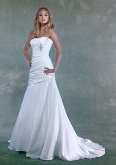 Elegant Fit N Flare Elastic Silk Like Satin Floor Length Scoop Wedding Dress With Ruching - Lunadress.co.uk
