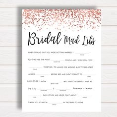 Printable Bridal Mad Libs Rose Gold Confetti Wedding Mad Libs