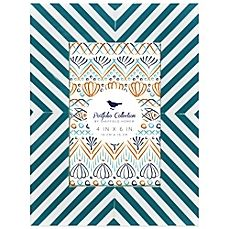 image of Portfolio Home Bias Striped 4-Inch x 6-InchPicture Frame in Turquoise and White