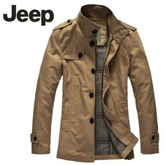 Jeep Men Business Style Long Sleeve Jacket-6602 Khaki - FixShippingFee- - TopBuy.com.au