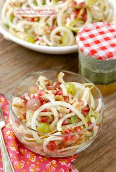 Spiralized Apple-Pear Pomegranate Slaw with Honey-Poppy Seed Dressing