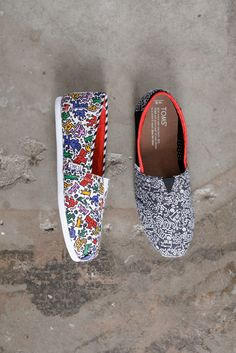 TOMS + Keith Haring Foundation slip-on shoes.