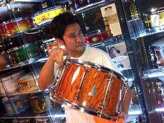 BRADY 14 x 8 Sheoak Block gloss snare drum at Drumtech Center in Bangkok, Thailand.