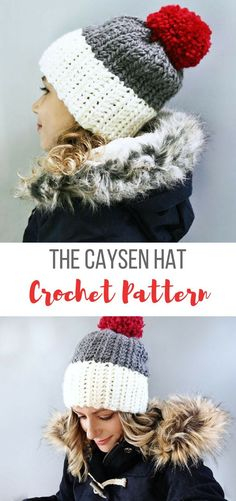 The Caysen Crochet Hat Pattern, Easy Hat Pattern, Beginner Crochet Pattern, DIY Hat Pattern #crochethatpattern #beginnerhatcrochetpattern #winterhatcrochetpattern #hatpatterncrochet #crochethat #affiliate #crochethats