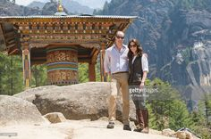 Prince William, Duke of Cambridge and Catherine, Duchess of Cambridge half way on their hike to Paro Taktsang, the Tiger's Nest monastery on April 15, 2016 in Paro, Bhutan.  (Photo by UK Press Pool/Getty Images)