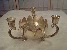 Vintage Leonard Silverplate Lotus Flower Frog Vase Candleabra Centerpiece Footed #Leonard
