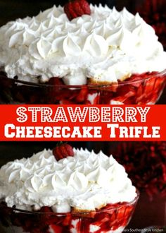 This Strawberry Cheesecake Trifle is one of those make-in-advance crowd pleasing desserts. It's filled with sweet strawberries, cubed cake . Cheesecake Trifle, Strawberry Desserts, Köstliche Desserts, Summer Desserts, Strawberry Cheesecake, Cheesecake Recipes, Delicious Desserts, Dessert Recipes, Yummy Food
