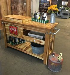 No assembly required, ships as pictured. Handcrafted cedar outdoor bar with built-in cooler. Includes a cubby for storage and a bottom shelf to add function or Wood Cooler, Patio Cooler, Outdoor Cooler, Diy Outdoor Bar, Diy Patio, Diy Cooler, Outdoor Bar Cart, Outdoor Living, Outdoor Serving Cart