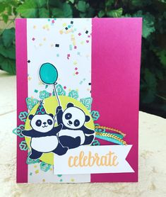 Party Pandas, Picture Perfect Party DSP, Stampin' Up! Occasions Catalogue Sale-a-bration 2018 Ballon Party, Panda Party, Origami, Kids Birthday Cards, Stamping Up Cards, Animal Cards, Kids Cards, Perfect Party, Cute Cards