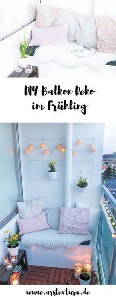 DIY Deko für den Balkon im Frühling mit Lichterketten, DIY Windlichtern und frischen Blumen