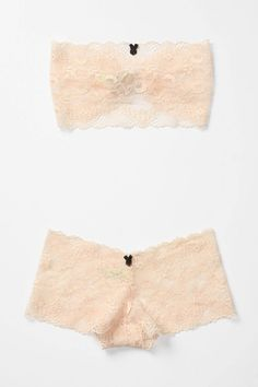 soft comfy lace bralette and boyshort....I love the unexpected black bows