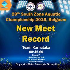 Congratulations Team Karnataka for the New Meet Record - 08:45.60 In the event of Boys, 4 x 200m Freestyle GROUP-II Kushal P  Saif Chandan K S  Raj Vinayak Relekar  Aditya Bopanna