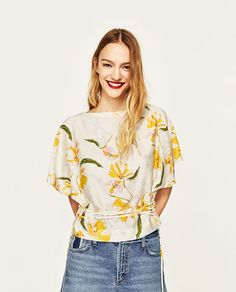 bccd1f4c31785 FRILLED SLEEVE TOP - COLLECTION-SALE-WOMAN. Yellow ShortsBatwing Sleeve ZaraShirt ...