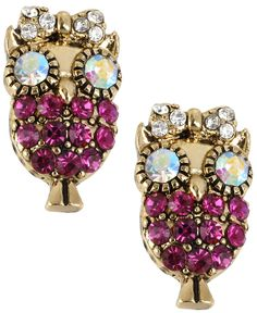 Betsey Johnson Antique Gold-Tone Owl Stud Earrings - Fashion Jewelry - Jewelry & Watches - Macy's