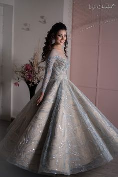 If you are looking to make a statement, but don't want to wear an over-the-top gown, then this ice-blue and the beige cocktail outfit is the answer to it. Wedding Reception Gowns, Indian Wedding Gowns, Ceremony Dresses, Indian Gowns Dresses, Indian Bridal Outfits, Wedding Dresses For Girls, Indian Reception Dress, Wedding Wear, Blue Wedding