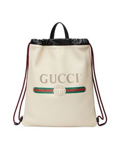 f529e1c6b0 GUCCI -PRINT LEATHER DRAWSTRING BACKPACK.  gucci  bags  leather  backpacks
