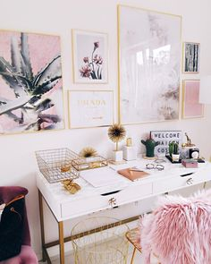 pink office / home design / interiors / gold and pink interiors