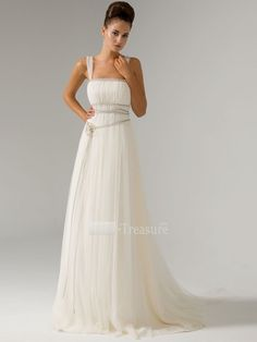 Ivory-Satin-Fine-netting-Square-Ruffle-Beading-Column-Puddle-Train-Wedding-Dress-6571-1