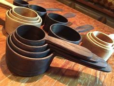 nesting measuring cups of walnut and maple