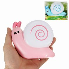 Squishy Snail Pink Blue Jumo 12cm Slow Rising With Packaging Collection Gift Decor Toy