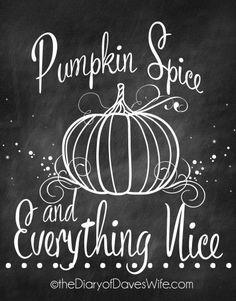 Free Chalkboard Pumpkin Spice Printable