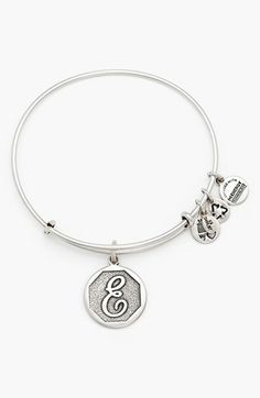 Alex and Ani 'Initial E' Adjustable Wire Bangle