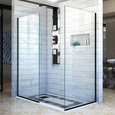 "VIGO Elan 64"" W x 74"" H Single Sliding Frameless Shower Door with RollerDisk™ Technology & Reviews | Wayfair Shower Panels, Shower Screens, Walk In Shower Designs, Frameless Shower Doors, Thing 1, Shower Enclosure, Shower Stalls, Glass Shower, Small Bathroom"