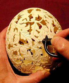 egg shell carving - I was just thinking about how this could make a really cool lamp