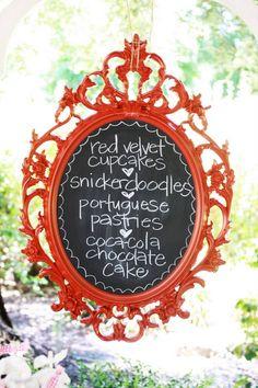 painted ikea mirror w/chalkboard paint