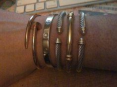 Image via We Heart It https://weheartit.com/entry/83895251 #bracelets #cartier #DavidYurman #jewelry #lovebracelet #justeunclou