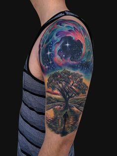 Jamie Lee Parker - Outer space Tree tattoo half sleeve