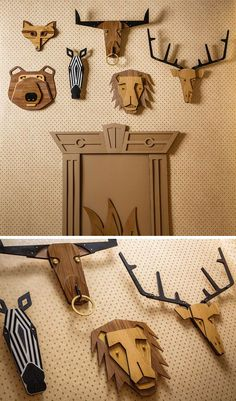 Crafts Products Tzachi Nevo has launched 'Hunter Wall', a collection of wood taxidermy animal heads inspired by African masks that can be hung alone or as a group to create whimsical wall decor. Router Projects, Woodworking Projects Diy, Diy Wood Projects, Wood Crafts, Woodworking Organization, Intarsia Woodworking, Woodworking Techniques, Woodworking For Kids, Popular Woodworking