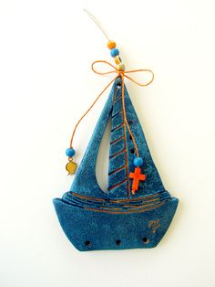 Boat Easy Cross Stitch Patterns, Polymer Clay Christmas, Homemade Ornaments, Clay Design, Polymer Clay Creations, Foam Crafts, Clay Art, Clay Jewelry, Pottery Art