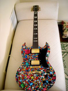Where there is a surface, it shall be bedazzled! Where there is a surface, it shall be bedazzled! Guitar Painting, Guitar Art, Music Guitar, Cool Guitar, Blue Guitar, Ukulele, Guitar Chords, Guitar Scales, Vintage Electric Guitars