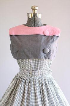Vintage 1950s Dress / 50s Cotton Dress / Carnegie Black and White Checkered Dress w/ Original Waist Belt M