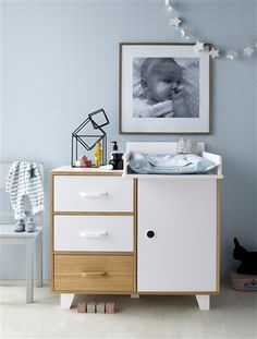 Commode 3 niches + 1 porte Hopla BLANC+DECOR BOIS+GRIS - vertbaudet enfant
