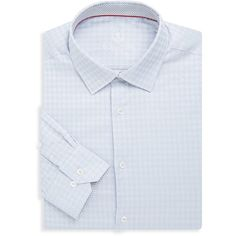 Bugatchi Men's Cotton Houndstooth Dress Shirt - Size 15.5 ($60) ❤ liked on Polyvore featuring men's fashion, men's clothing, men's shirts, men's dress shirts, no color, mens long sleeve cotton shirts, mens long sleeve dress shirts, bugatchi men's dress shirts, mens longsleeve shirts and mens cotton shirts