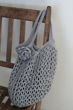 Crocheted+Market+bag+with+detachable+flower++reusable+by+ByAmarie,+$18.50