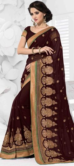 156225, Party Wear Sarees, Embroidered Sarees, Chiffon, Stone, Zari, Thread, Machine Embroidery, Red and Maroon Color Family