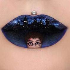 Harry Potter - Daniel Radcliffe. Body Painting with Lip Art. To see more art and information about Jazmina Daniel click the image.