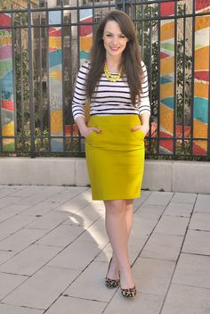 I need a yellow pencil skirt.