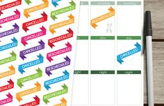 Cancelled, Rescheduled Planner Stickers for Erin Condren Planner, Filofax, Life Planner Stickers, Kikki K, Happy Planner Stickers. de SandiaDesignShop en Etsy