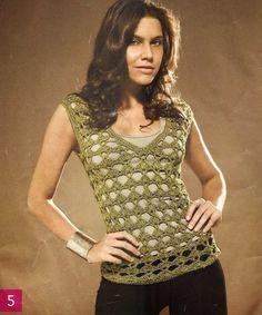 Patrón #1444: Blusa Calada a Crochet. | CTejidas [Crochet y Dos Agujas]