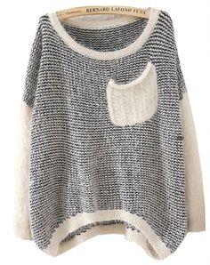 Black Long Sleeve Striped Pockets Knit Sweater